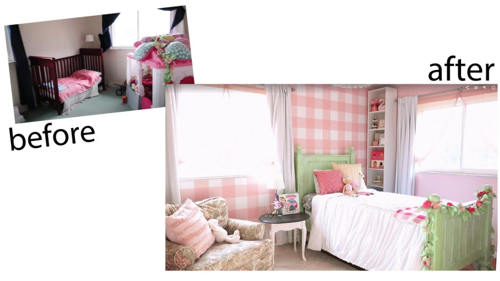 Before and after Girl's bedroom makeover