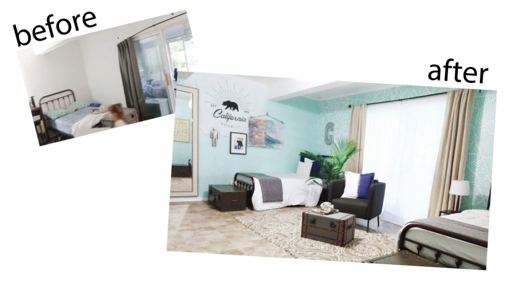 Before and after boys' room makeover