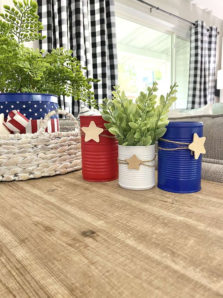 4th Of July upcycled red white and blue star food cans DIY Craft