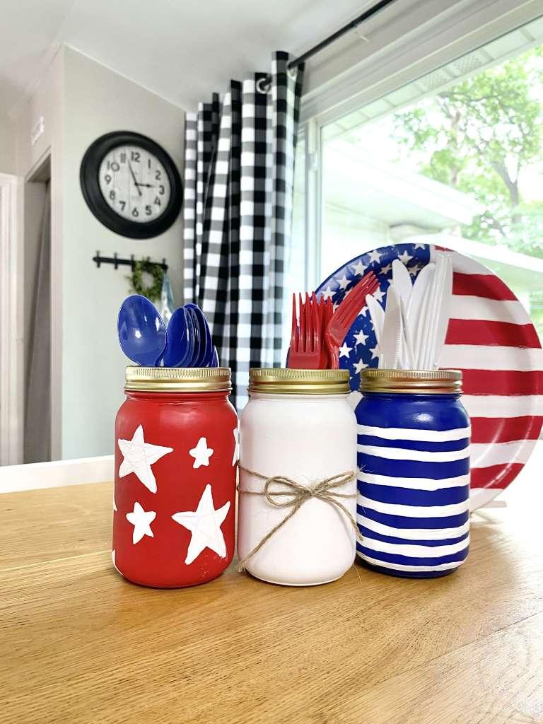 4th Of July american flag mason Jars DIY Craft