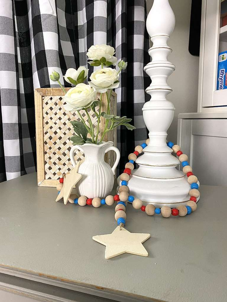 4th Of July Red white and blue wooden bead Garland DIY Craft