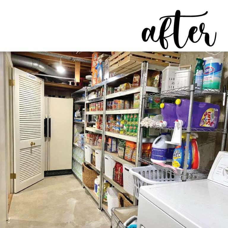 basement food storage shelves makeover after view
