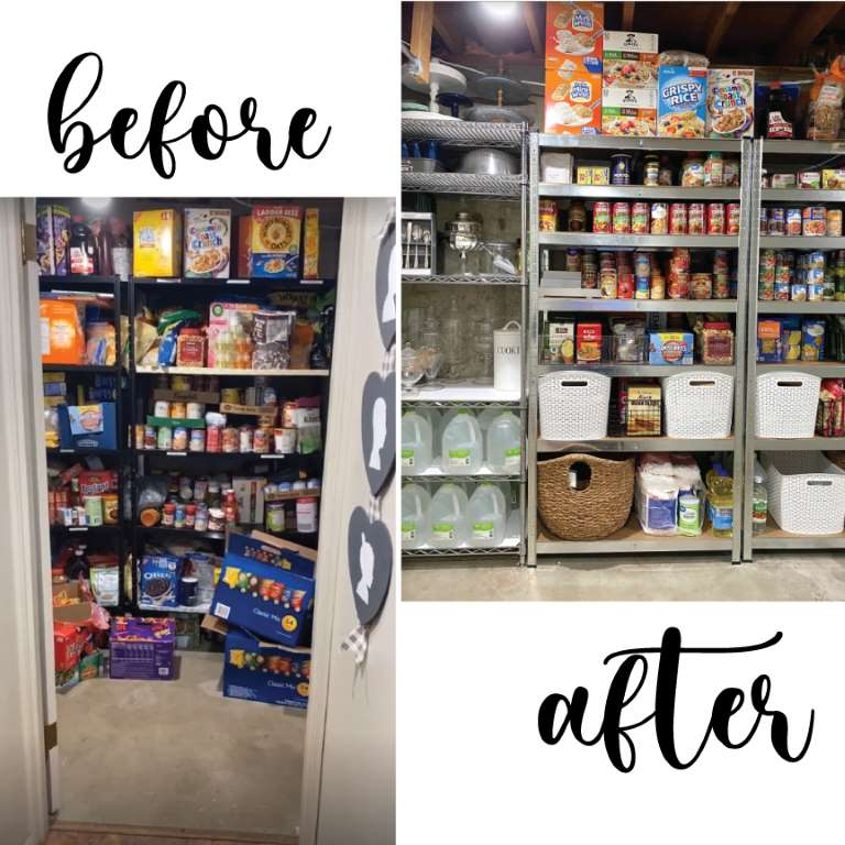 basement laundry room food storage shelves makeover Before and after view