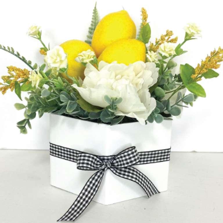 DIY floral decor planter with lemons