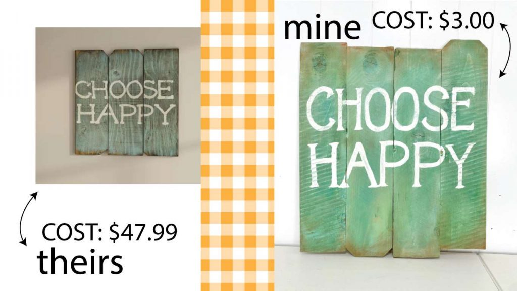 green wooden choose happy sign cost of theirs vs mine