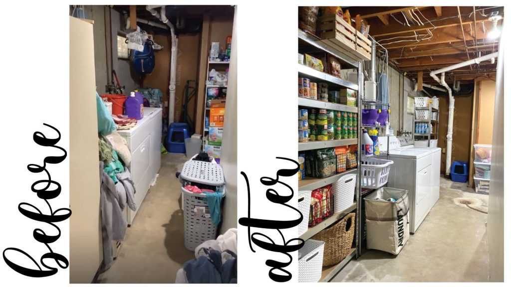 Basement laundry room makeover Before and after view