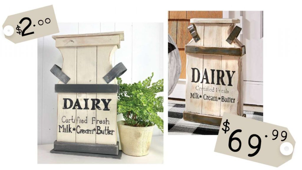 DIY chunky wood cutouts milk can cost comparison