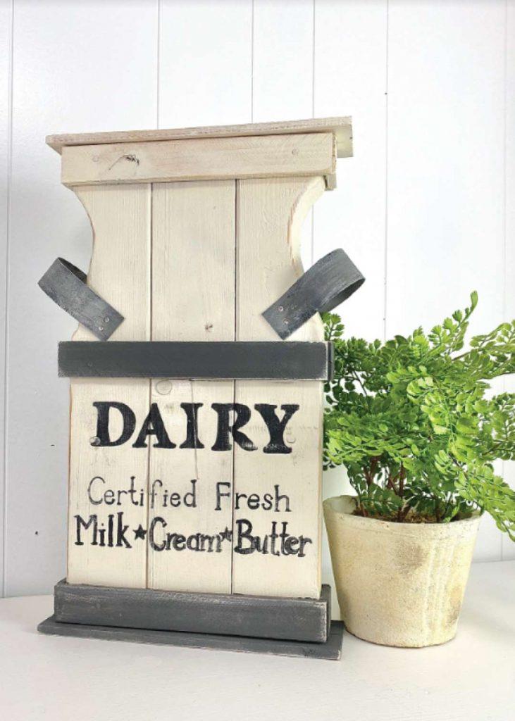 DIY chunky wood cutouts milk can craft