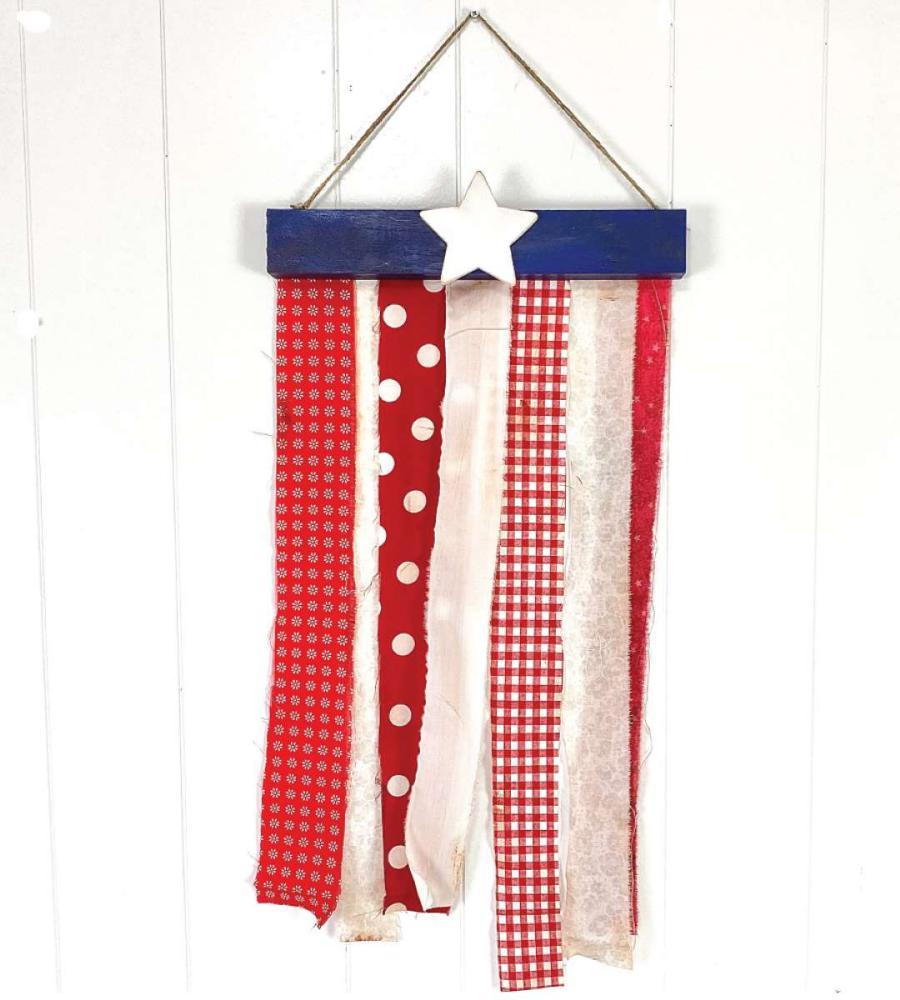DIY fabric strips flag pendant