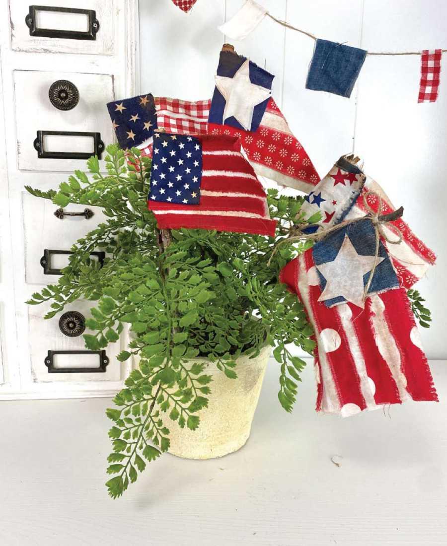 DIY american flag planter