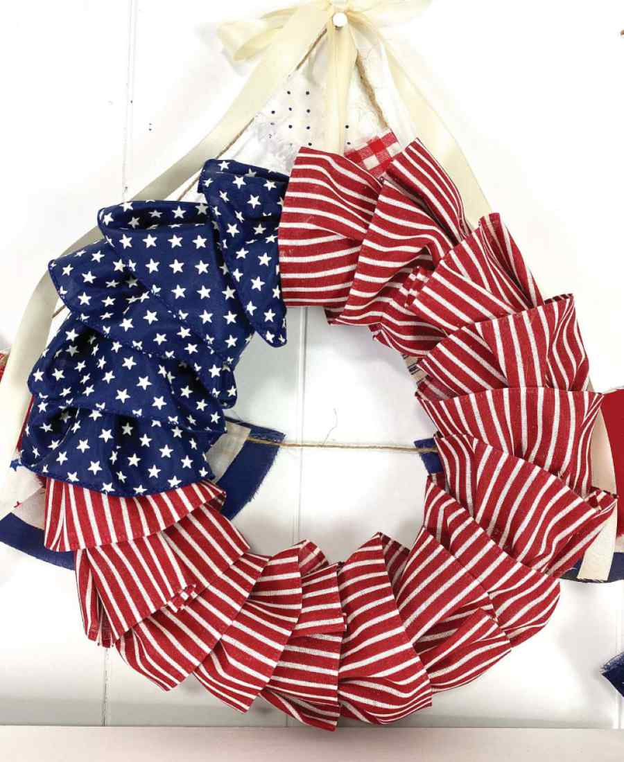 DIY american flag ribbon wreath