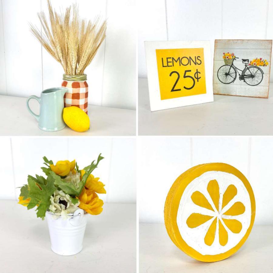 gingham jar, lemon and bike signs, flral bucket, wooden lemon round