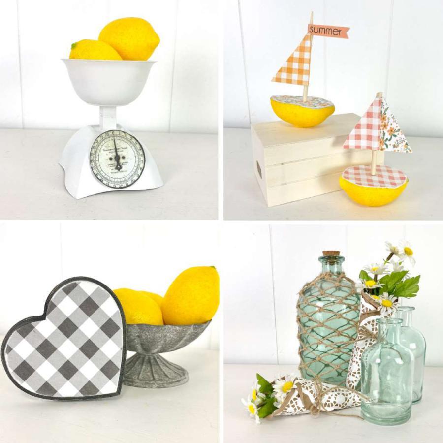 mini scale, lemon boats, gingham fabric heart, doily bouquet