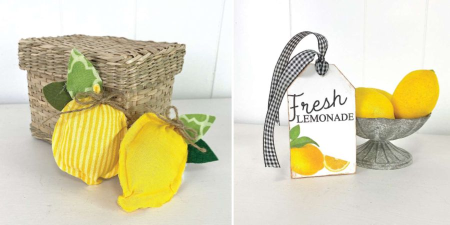 DIY fabric lemons and fresh lemonade tag