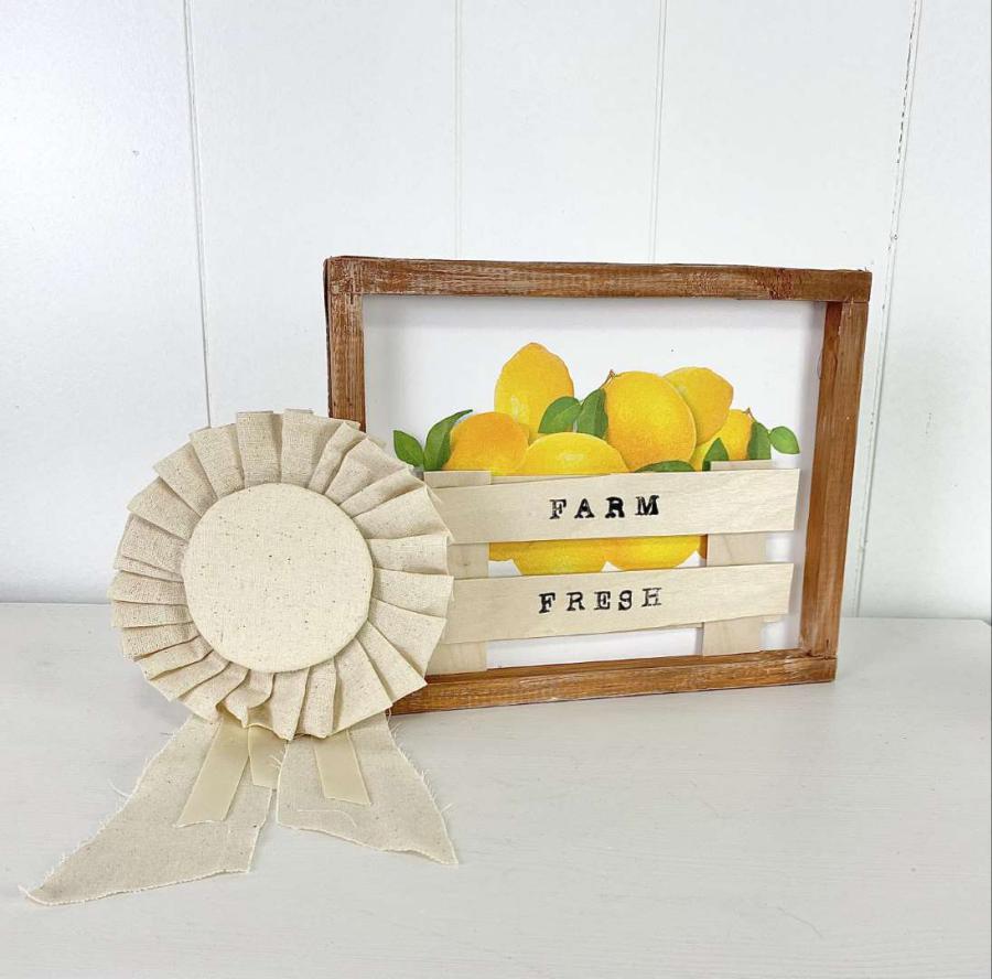DIY farm fresh lemon sign with ribbon