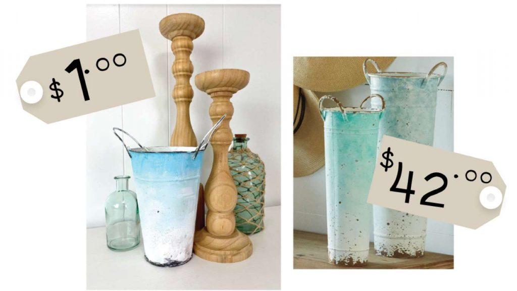 DIY Ombre Metal Bucket Vase Comparison
