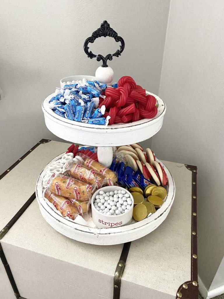 2 tier tray with various snacks
