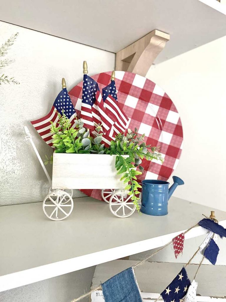 DIY decorative wagon with american flags
