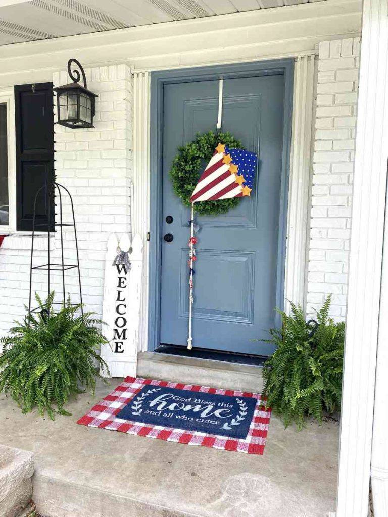 4th of july Front Door Welcome Mat and Red White And Blue DIY Kite