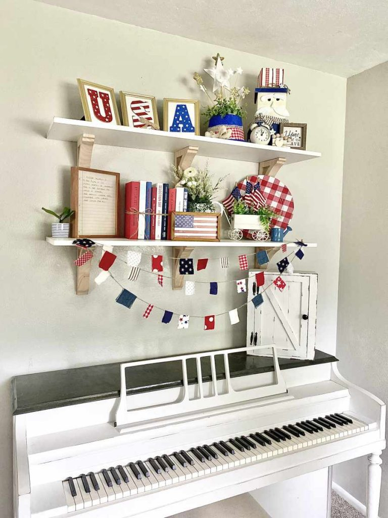 Decor shelves over chalk painted piano