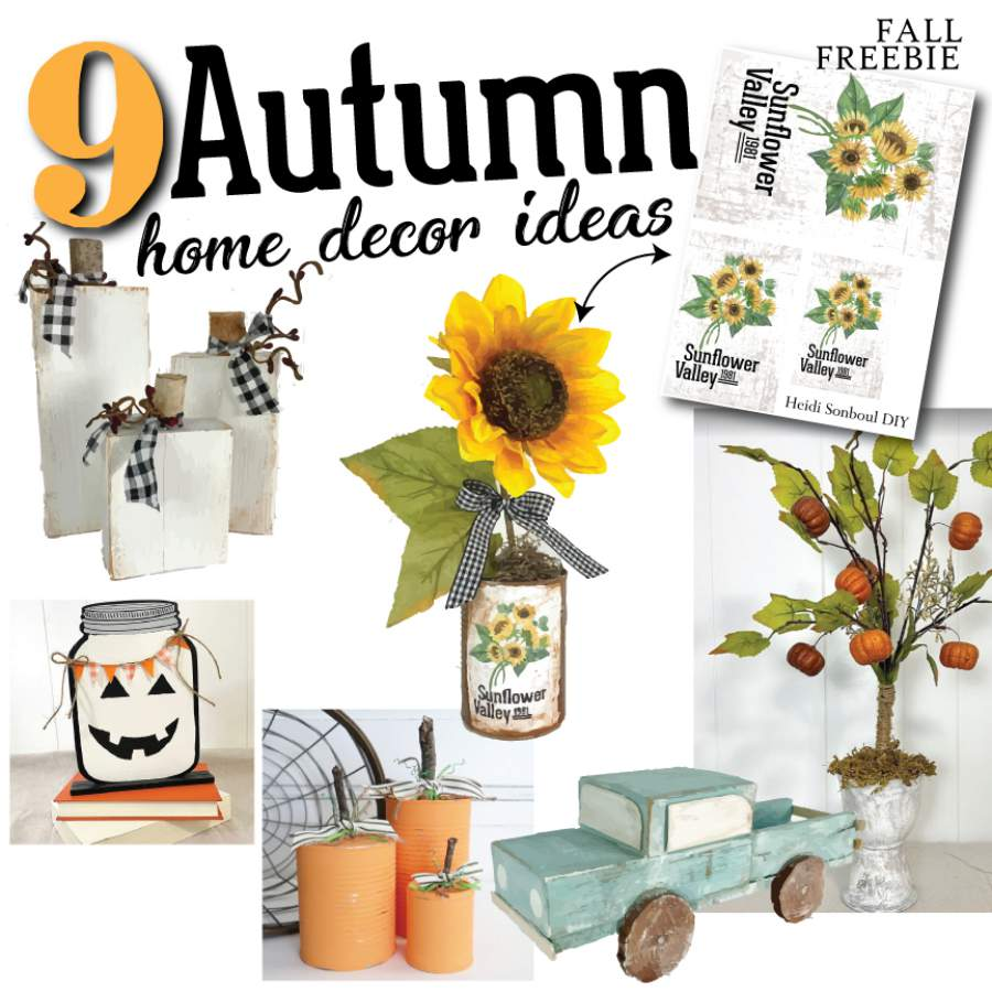 Autumn home decor DIY projects sunflower pumpkins vintage trucks