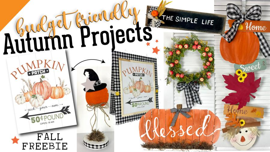 budget friendly autumn DIY project images wreath pumpkins and signs