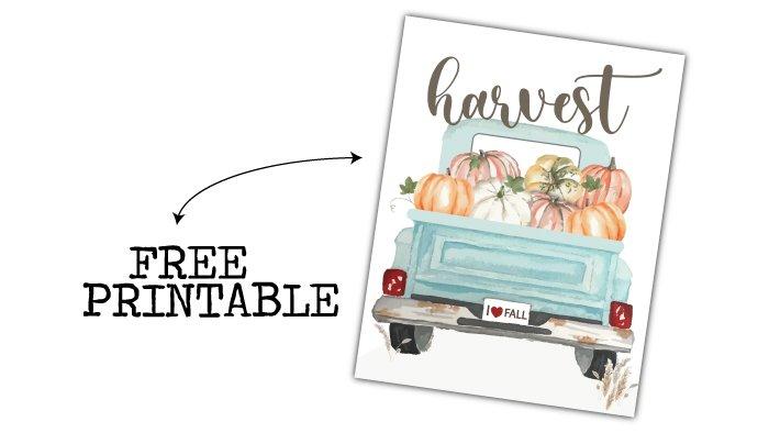 heidi sonboul blue vintage truck with pumpkins free printable image