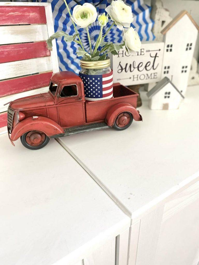 4th of july Red decorative truck with DIY American flag mason jar