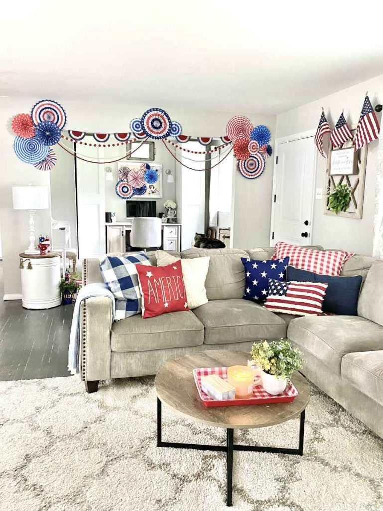 View of front room and office with 4th of july  red white and blue decorations