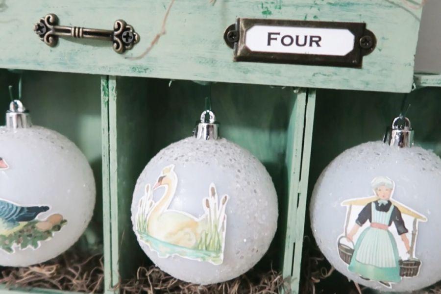 12 days of Christmas white ornament on apothecary Christmas tree